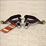 Hilason Antique Brown Youth Spurs W/ Copper Dots Border Brass Buttons & Rowel