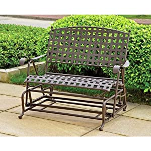 Mandalay Iron Porch KD Double Glider, Antique Black from Brookstone
