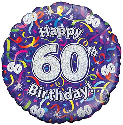 Zum 60. Geburtstag, Luftballons, Luftschlangen, Holographisches Muster
