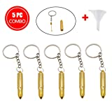 TUTUN 5x Bullet Shape Metal Snuff Spoon 52MM Sniffer Snorter Shovel Portable Key Chain FREE FUNNEL (Color: Gold)