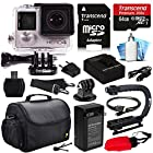 GoPro HERO4 Hero 4 Black Edition 4K Action Camera Camcorder with 64GB Must Have Accessories Kit with MicroSD Card, Battery, Charger, Large Case, Grip, HDMI, Card Reader, Cleaning Care Kit (CHDHX-401)