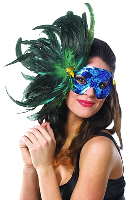Beautiful Sequined Bright Blue Feathered Mardi Gras Costume Eye Mask