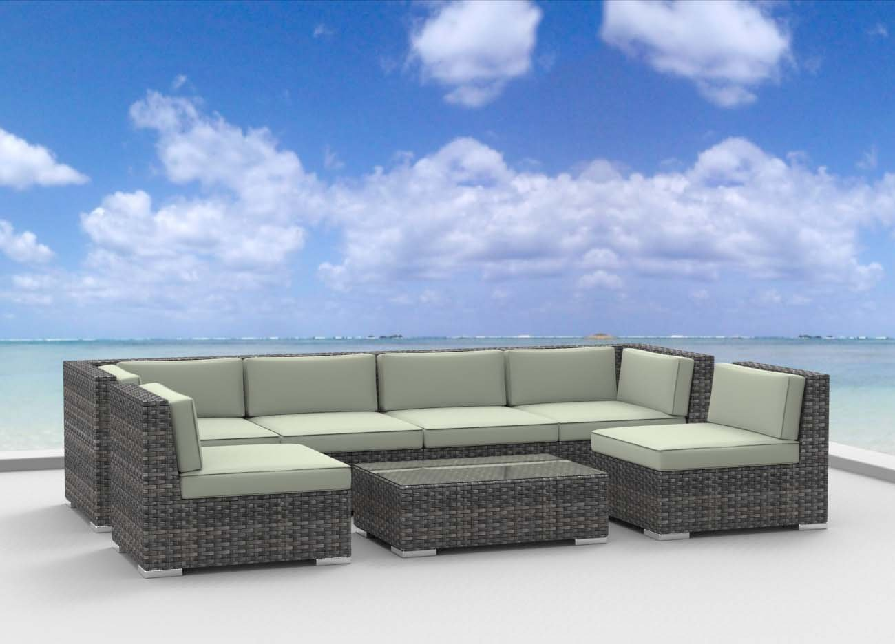 www.urbanfurnishing.net Urban Furnishing - OAHU 7pc Modern Outdoor Backyard Wicker Rattan Patio Furniture Sofa Sectional Couch Set - Beige at Sears.com