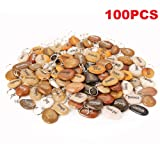 100PCS RockImpact Inspirational Stones Key Chains, Wholesale Lot, Engraved Natural River Rock Key Rings Keychains, Healing Stone Keychain Bulk Lot, Different Words Assorted Sayings (100 Pieces) (Color: Mixed, Tamaño: 2-3 inches)