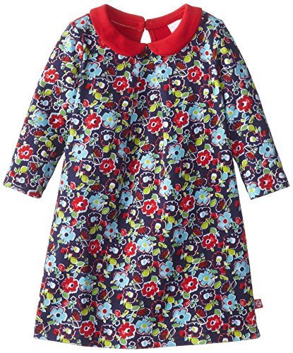 Zutano Baby-Girls Infant Oopsie Daisy Long Sleeve Peter Pan Dress, Navy, 12 Months