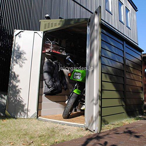 屋外収納庫 バイクや自転車収納に 英国製メタルシェッドTM2ペントルーフ
