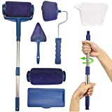 Paint Roller Brush Kit,MSDADA Multifunctional Paint Roller Pro Kit with House Paint Rollers Brush New, Retractable Rod, for Painting Walls and Ceilings(Blue) (Color: Blue)