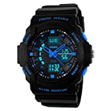 Kids Watches, Digital Analog Sports Waterproof Outdoor Wristwatch with Alarm Boys Led Watch,Children Gift (Color: blue)
