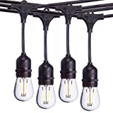 Sterno Home 48-Ft Vintage-Style Waterproof Outdoor LED String Lights - Hanging Edison Bulbs on Black Rubberized Cord - For Backyard, Weddings, Patio, Porch, and more. (Tamaño: 48-Feet)