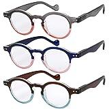 Reading Glasses 3 Pairs Fashion Springe Hinge Readers Glasses for Reading Men and Women +3 (Color: Set of Blue-pink, Brown-blue, Grey-beige, Tamaño: 43mm)