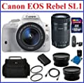 Canon EOS Rebel SL1 DSLR Camera White (USA Warranty) with EF-S 18-55mm f/3.5-5.6 IS STM with 4 Lenses Ultimate Bundle: Canon 55-250mm STM IS Lens, 32GB SDHC Memory Card, Card Reader, Camera Bag, Telephoto & Wide Angle Lenses, Spare Battery, 58mm UV Protec