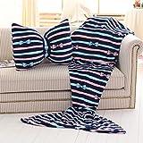 Casofu® Mermaid Tail Blanket Teen Blanket Tails, Flannel Dots Seatail Blanket, Sleeping Bag Sofa Bed Snuggle Mermaid(Mermaid Blanket+Bow Tie Pillow) #3