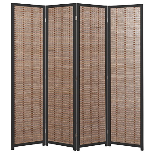 Decorative Openwork Design Black Wood Framed 4 Panel Folding Screen / Freestanding Room Divider - MyGift®
