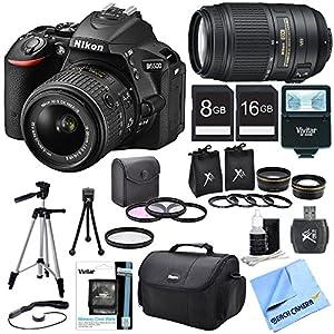 Nikon D5500 Black DX-Format Digital SLR Camera 18-55mm Lens, 55-300 Lens, Lens Set, and Flash Bundle - Includes Lens, Lens Set, Flash, Filter Kit, Filter, 2 Memory Cards, Carrying Case, Card Wallet, Card Reader, Tripod, Mini Tripod, Cap Keeper, and More