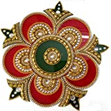 Korporate Kart 18/8 Steel Rangoli With Crystals - (0.5 Quart, Red Green Gold, Pack Of 2)