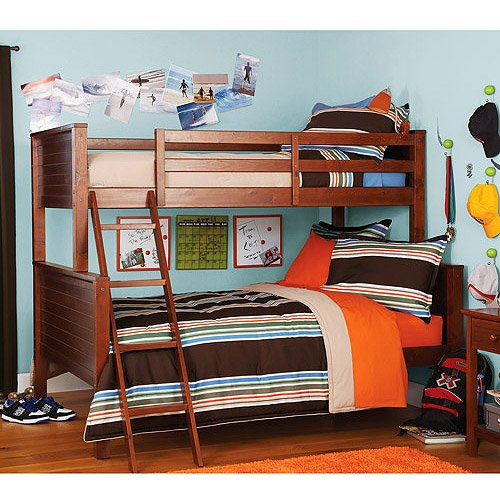 Where can you buy your zone twin over full bunk bed walnut for Where can you buy beds