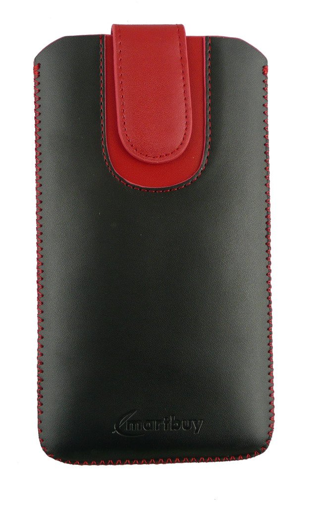 Emartbuy® Black / Red Plain Premium PU Leather Slide in Pouch Case Cover Sleeve Holder ( Size 3XL ) With Pull Tab Mechanism Suitable For Samsung Galaxy Luna