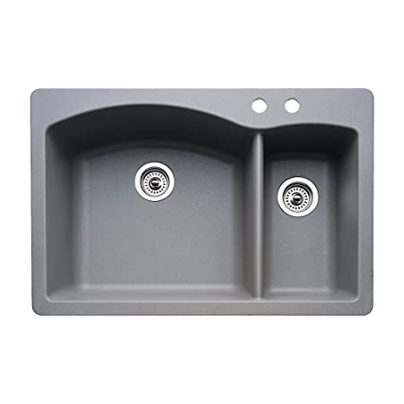 Blanco 440198-2 Diamond 2-Hole Double-Basin Drop-In or Undermount Granite Kitchen Sink, Metallic Grey