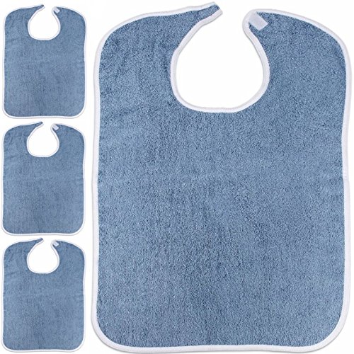 Adult Bibs, 100% Cotton, 3-Pack (18X30, Blue)