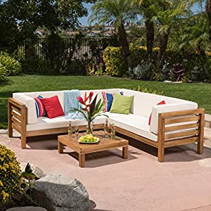 Ravello Outdoor Patio Furniture 4 Piece Wooden Sectional Sofa Set w/ Water Resistant Cushions (Beige) from GDF Studio