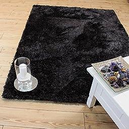 Black shaggy shag area Rug 5x7 High End Designer Quality High Pile Soft Iridescent Sheen Ultra Plush SRB