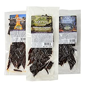 Bayou Blend Cajun Style Gourmet Beef Jerky - Includes 1.5 oz of Melange Original, 1.5 oz of Luziana Bonfire (Spicy Hot), 1.5 oz of File Gumbo (Tester Pack Total of 4.5 Oz)