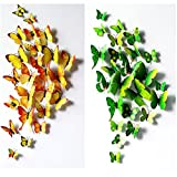 Sangu 3D Orange Green Butterfly Removable Mural Wall Stickers Wall Decal for Home Decor(Orange green)