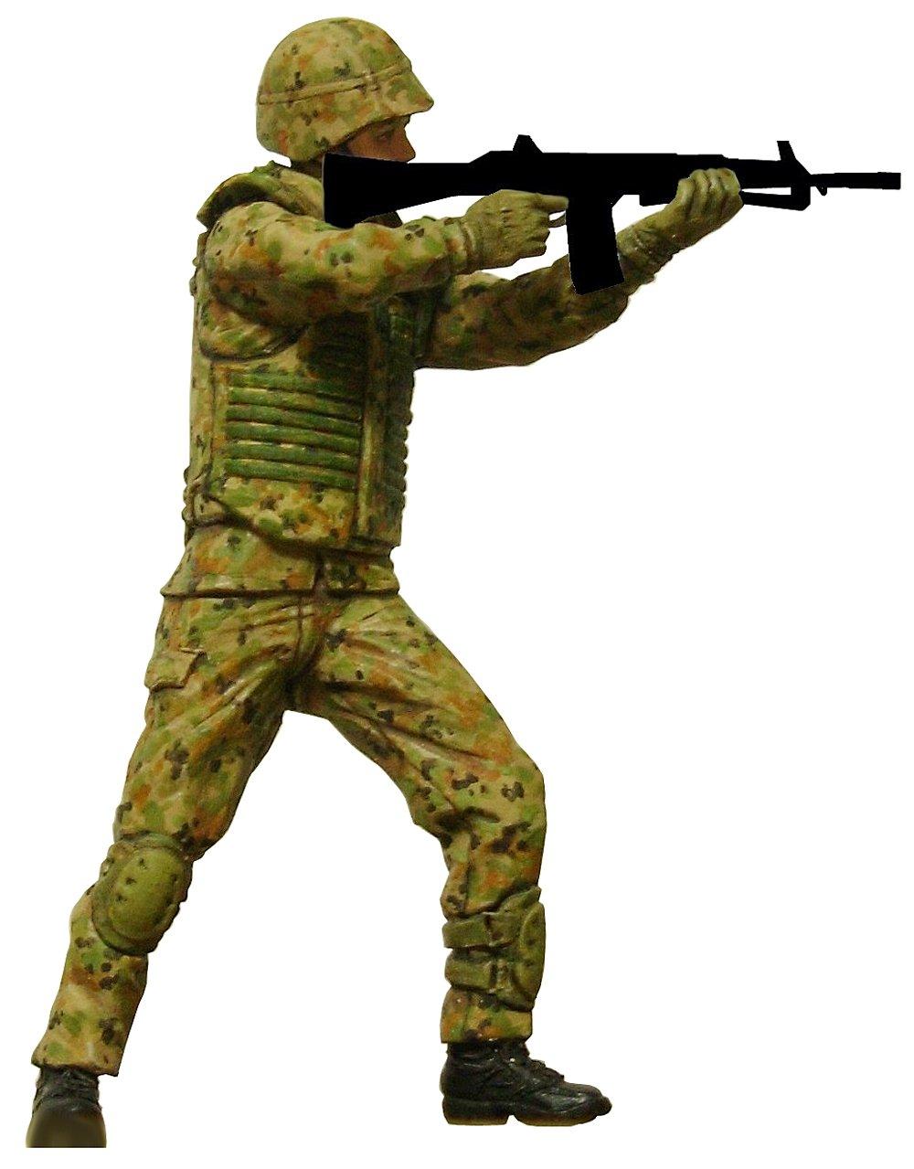 陸上自衛隊普通科隊員 立ち射撃ポーズ 1/35スケール レジンキャスト製 未塗装 未組立フィギュア