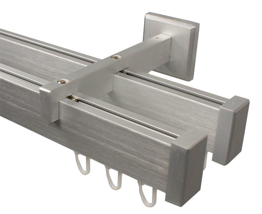 Innenlauf Gardinenstange 2  läufig aus Aluminium im Eckdesign, alufarbig 360 cm (2 x 180 cm)    Überprüfung und weitere Informationen