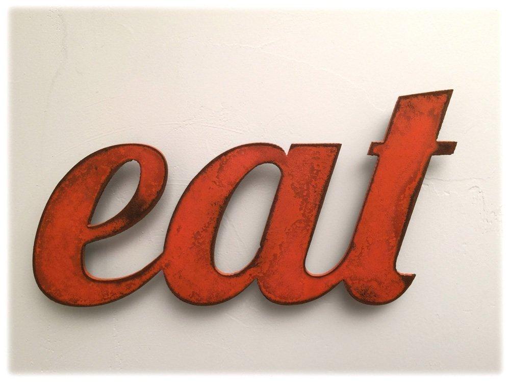 11 inch long eat metal wall art word - Handmade - Choose your patina color 8