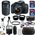 Canon EOS Rebel T5 18MP EF-S Digital SLR Camera USA warranty with canon EF-S 18-55mm f/3.5-5.6 IS II Zoom Lens & Canon EF-S 55-250mm f/4.0-5.6 IS STM Telephoto Zoom Lens + 58mm Telephoto Lens + 58mm Wide Angle Lens + Slave Flash + Spare Battery + UV Filte