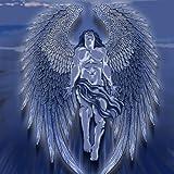 Winged Man Angel Blue Design Artwork - Vinyl Sticker