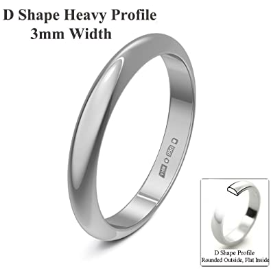 Xzara Jewellery - Palladium 950 3mm Heavy D Shape Hallmarked Ladies/Gents 2.2 Grams Wedding Ring Band