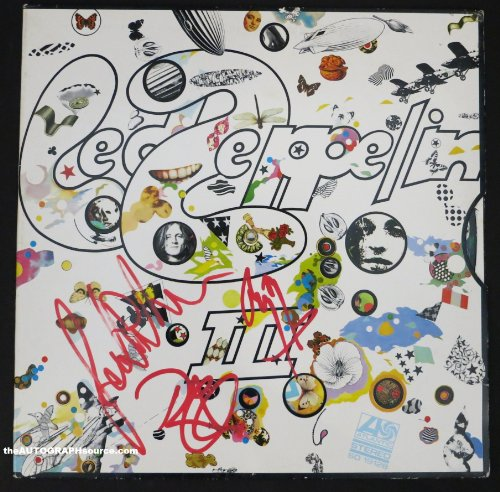 Led Zeppelin 3 Album Autographed By Three Members.