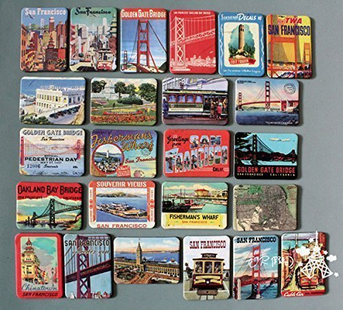 Himalaya San Francisco Fridge Magnet The Golden Gate Bridge Fridge Magnets Kids Toys Refrigerator New Year Gifts Home Decoraton Wall Sticker 24 Pack a Lot Multi-Color
