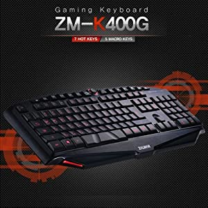 ZALMAN Gaming Keyboard ZM-K400G/7 HotKeys/5 Macro Keys/USB Type (EN/KR Version)
