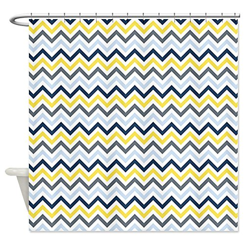 Navy, Light Blue, Yellow Gray Chevron