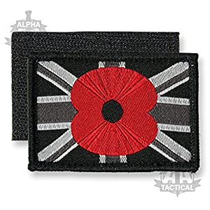 Union Jack Velcro Woven Embroidered Poppy Patch Black Small from Alpha Tactical