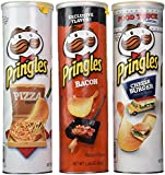 Pringles Fast Food Flavored Variety Bundle, 5.96 oz cans, (Pack of 3) includes 1-Can Pizza Flavored Chips + 1-Can Cheeseburger Flavored Chips + 1-Can Bacon Flavored Chips