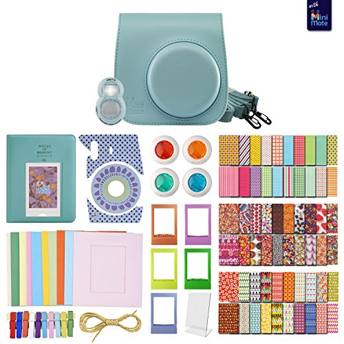 FujiFilm Instax Mini 8 BLUE MiniMate Accessory Bundle. Kit includes: Case, Frames, 64 page Photo Album, Selfie Lens, Colored Filters and more (Fujitsu Polaroid Film compare prices)
