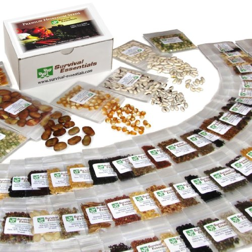 135 Variety Organic Heirloom Survival Seed Bank - Emergency Seed Vault - Non Gmo - Non Hybrid - All In One: Vegetables - Fruits - Culinary Herbs - Medicinal Herbs - Sprouting Seeds ~ 135 Varieties - Plus: Nine Rare Heirloom Tomato Varieties Free! - Fantas front-87127
