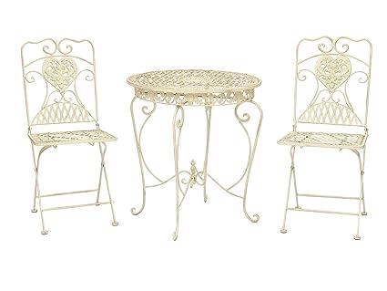 Gartentisch und 2 Stuhle Bistrotisch Eisen Garten antik Stil Gartenmöbel weiss