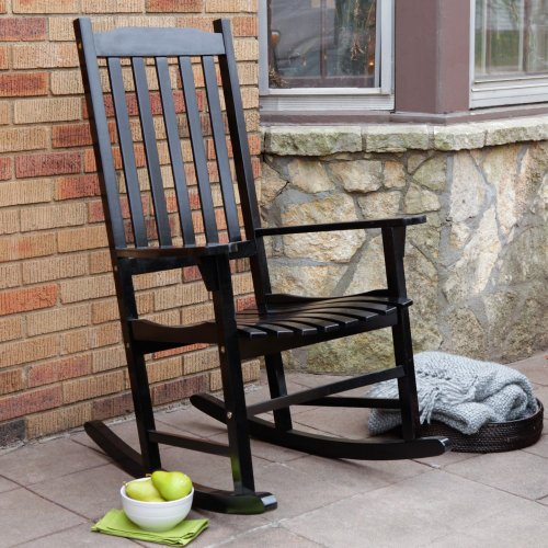 Coral Coast Indoor/Outdoor Mission Slat Rocking Chair - Black front-754840