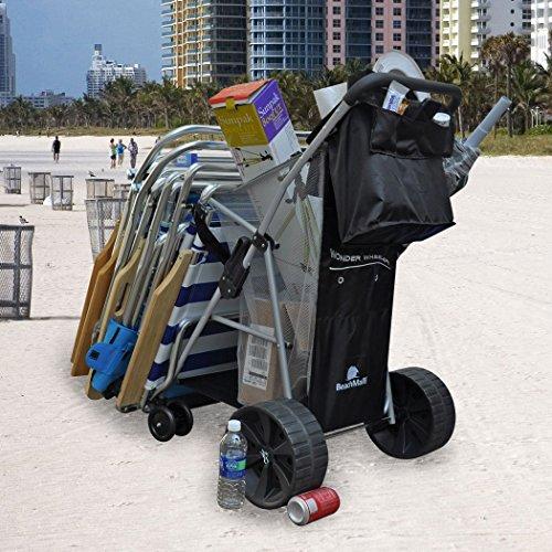 Wonder Wheeler Beach Cart - Easy Roll Ultra Wide Wheels - Silver Mist Frame