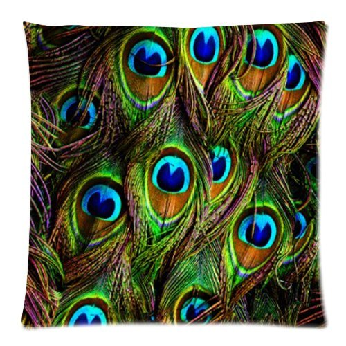Generic Custom Beautiful Peacock Feathers Cool Design Printed Zippered Pillowcase Cushion Case 18*18(Twin Sides) front-1046160