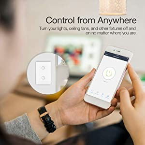 WiFi Smart Wall Touch Light Switch Glass Panel Wireless Remote Control by Mobile APP Anywhere Compatible with Alexa,Timing Function No Hub Required (Wall Switch 2 Gang) (Color: White, Tamaño: 4.72 x 3 x 1.45 in)