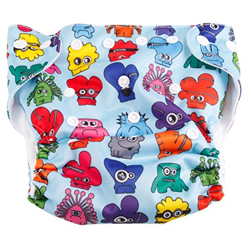 Cloth Diapers ,Nappies - Haqile Monster Pattern Tpu Waterproof And Side-Leakage Preventing Cloth Diaper