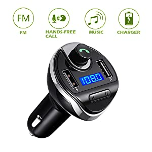 KeeKit Bluetooth FM Transmitter, Wireless in-Car FM Transmitter Radio Adapter Car Kit, Universal Car Charger with Dual USB Charging Ports, Hands-Free Calling for Smartphones (Color: Black)