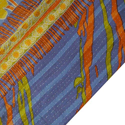 Azul Kantha Stitch Gudri puro algodón Patrón de la vendimia floral del edredón de cama Spread
