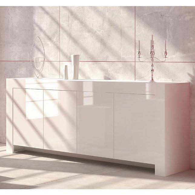 Mobile credenza legno laccato bianco L200xP47xh82cm arredamento casa 202M11bl